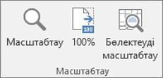 Excel таспасындағы «Ұлғайту» тобы