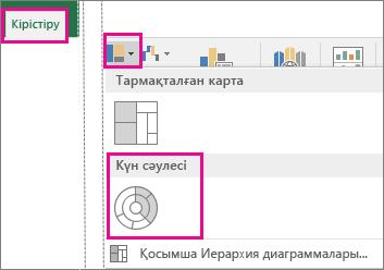 Windows жүйесіне арналған Office 2016 бағдарламасының «Кірістіру» қойыншасындағы күн сәулесі пішініндегі диаграмма