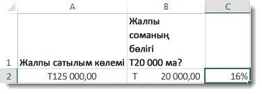 a2 ұяшығында 125 000,00 доллар, b2 ұяшығында 20 000,00 доллар, ал c2 ұяшығында 16%