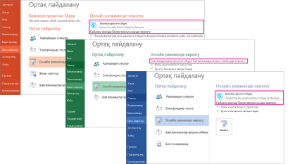 Бизнеске арналған Skype параметрлі бөлектелген PowerPoint, Excel және Word Share терезелерінің скриншоттары