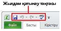 Excel 2010 бағдарламасындағы жылдам қатынау тақтасы