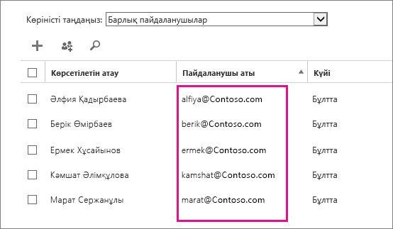 Office 365 басқару орталығындағы «Пайдаланушы аты» бағаны.