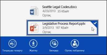 Бизнеске арналған OneDrive қызметінде таңдалған файл