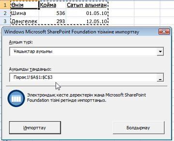 SharePoint тізіміне импорттау