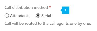 Shows the call distribution method options