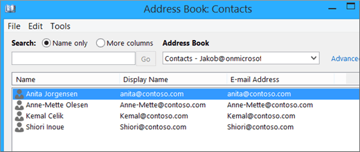 Контактілер Google Gmail поштасынан Office 365 қызметіне импортталғанда, олардың тізімі мекенжайлық кітапта көрсетіледі: Контактілер