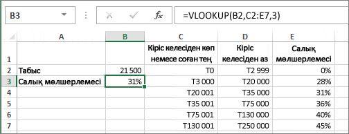 VLOOKUP функциясының әдеттегі қолдануы