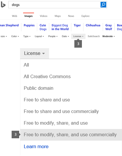 License drop-down set to Free to modify, share, and use commercially.