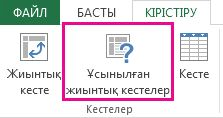 Excel бағдарламасында «Кірістіру» қойыншасындағы ұсынылған жиынтық кестелер