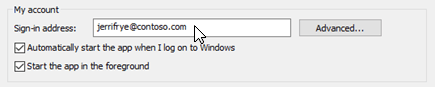 My account options in the Skype for Business Personal options window.