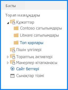 SharePoint бағдарламасында Жылдам іске қосу параметрінде тармақ көрінісінде көрсетілетін құжат кітапханасының скриншоты. Жылдам іске қосу параметрі тармақтық көріністі көрсетуге реттелген