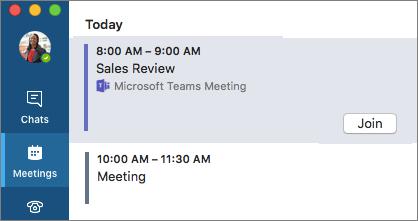 Teams meeting on Meetings tab