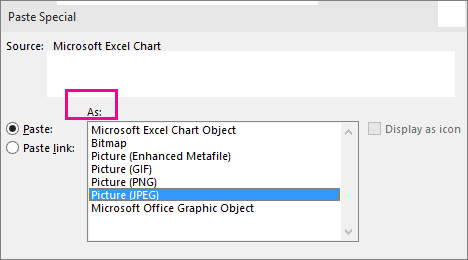 Top part of Paste Special dialog box
