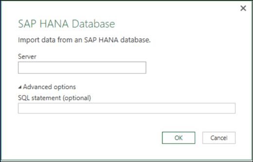 «Excel Power BI қызметіндегі SAP HANA дерекқорын импорттау» диалогтық терезесі