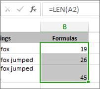 LEN функциясының мысалы