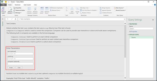 Excel Power BI қызметінің сұраулар өңдегішіндегі функцияны шақыруға арналған кірістірілген енгізілімді басқару элементтері