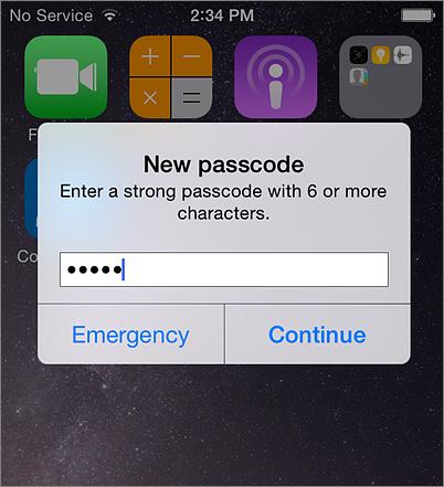 Create mobile password iPhone