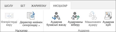 Мақсатты сайттағы «Нұсқалар» қойындысының скриншоты. Қойынды екі топты қамтиды, «Нұсқа» және «Аударма»