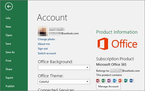 Office жиынтығымен байланыстырылған Microsoft тіркелгісі Office бағдарламасының «Тіркелгі» терезесінде пайда болады