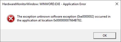 Қате: HardwareMonitorWindow:WINWORD. EXE - Бағдарлама қатесі