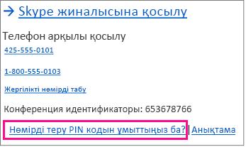 «PIN кодын ұмыту» мысалы бөлектелген экран суреті