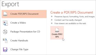 Көрсетілімді PDF ретінде сақтау