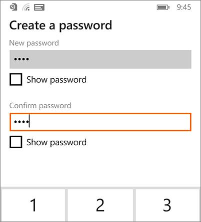 Create password on Windows Phone