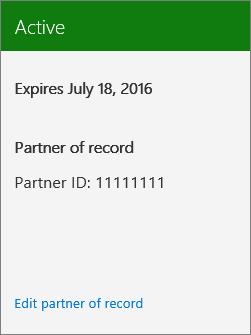 Office 365 жазылымымен байланысты Серіктес идентификаторын көрсететін скриншот