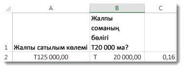 А2 ұяшығында 125 000,00 доллар, В2 ұяшығында 20 000,00 доллар, ал С3 ұяшығында 0.16