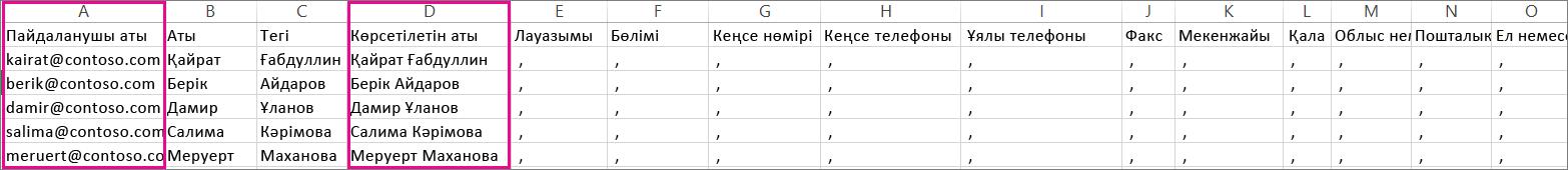 Бос жолдар көрсетілген үлгі CVS файлы