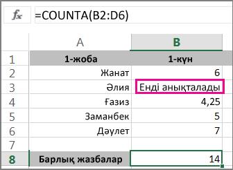 Таңдау аумағы бар CountA функциясы