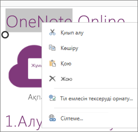 Сенсорлық құрылғыдағы OneNote Online бағдарламасының  контекстік мәзір