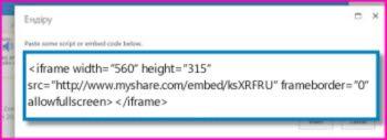 Бейнені ортақ пайдалану сайтынан көшірілген бейне үшін <iframe> ендіру кодының скриншоты. Ендіру коды ойдан шығарылған.