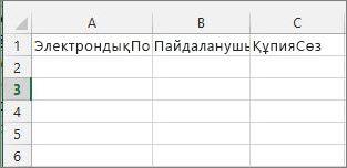 Excel тасымалдау файлындағы ұяшық тақырыптары.