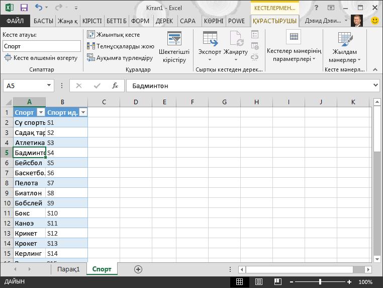 Excel бағдарламасындағы кестеге ат қойыңыз