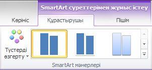 «SmartArt құралдары» астында «Құрастырушы» қойындысындағы «SmartArt мәнерлері» тобы
