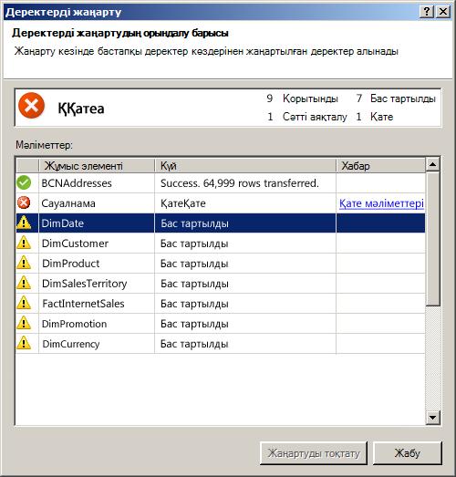 PowerPivot қондырмасының деректерді жаңарту статусының хабары