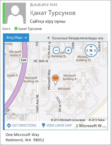 Мекенжайды картада көрсететін Bing карталары қолданбасы бар электрондық пошта хабары
