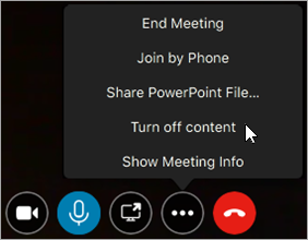 Example of how to turn off or on meeting content