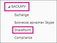 SharePoint сайттар жиынтығы мәзіріне өту жолы.