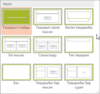 PowerPoint бағдарламасындағы слайд орналасулары