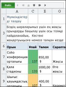 Excel үшін Mobile Viewer бағдарламасы