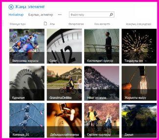 SharePoint бағдарламасындағы активтер кітапханасының скриншоты. Онда кітапхана қамтитын бірнеше бейнелердің және суреттердің белгі суреттері көрсетілген. Сондай-ақ, онда мультимедиалық активтердің стандартты метадеректер бағандары көрсетілген.