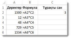 А бағанындағы деректер, В бағанындағы формулалар және С2 ұяшығындағы 3 саны