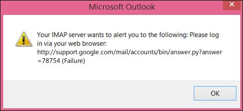 «IMAP серверіңіз келесі жөнінде ескерткісі келеді» қате хабарын алсаңыз, Gmail тіркелгісінде төмен деңгейлі қауіпсіздік параметрлерін «Қосулы» күйіне орнатқаныңызды тексеріңіз, осылайша Outlook бағдарламасы хабарларыңызға қатынаса алады.