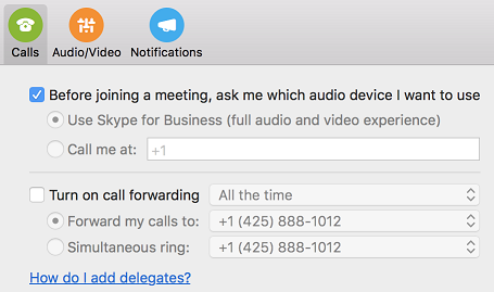 'How do I add delegates?' help link in Calls page of Preferences dialog box