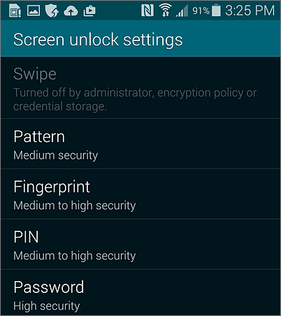Screen unlock settings for Android
