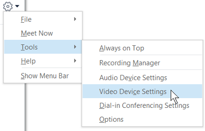 Screenshot of video options