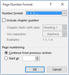 Select a format and a starting number for page numbers in Page Number Format.