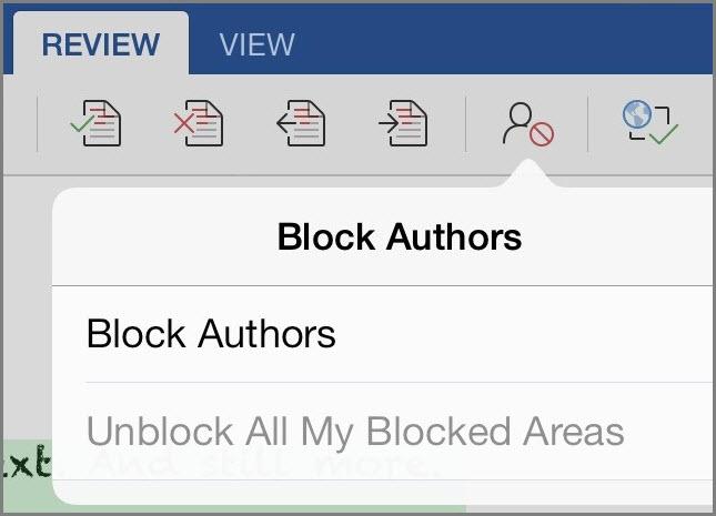 Авторларды блоктау диалогтық терезесі